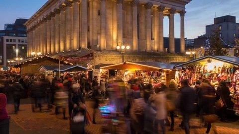Birmingham City Hall and Christmas Market, Birmingham, West Midlands, England, United Kingdom, Europe