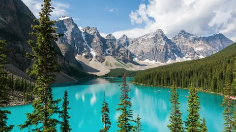Moraine Lake time lapse view in Banff National Park, Canadian Rockies, Alberta, Canada. Zoom out.