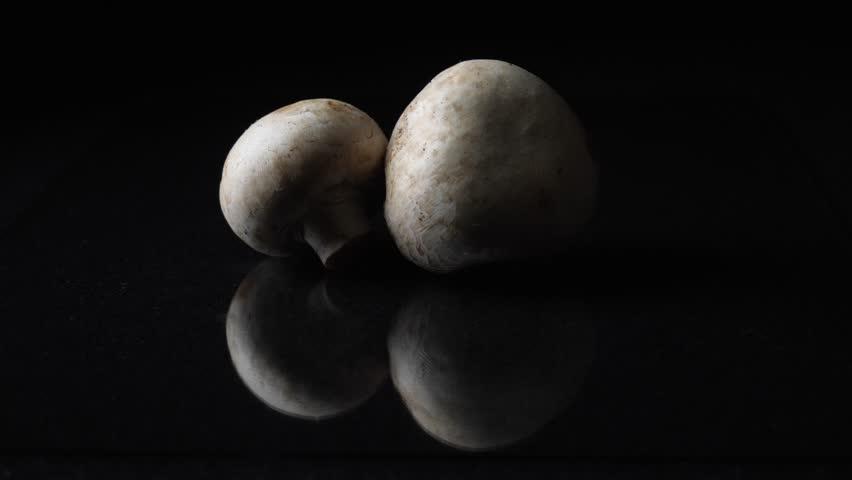 White mushrooms champignons whole on black background. Frame. Champignons on black background. Whole mushrooms rotating on black mirror background