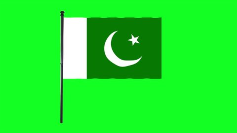 4K Pakistan flag is waving in green screen.