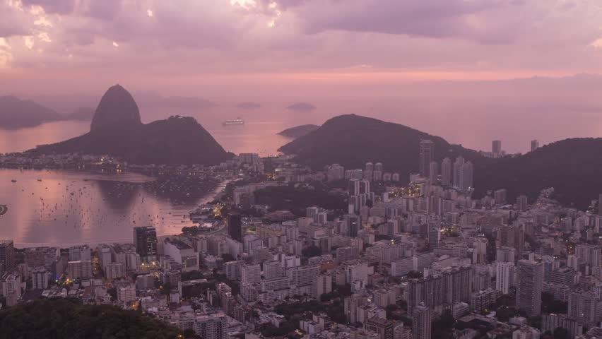 Time lapse of a sunrise over Botafogo Bay in Rio de Janeiro Brazil | Shutterstock HD Video #1014582404