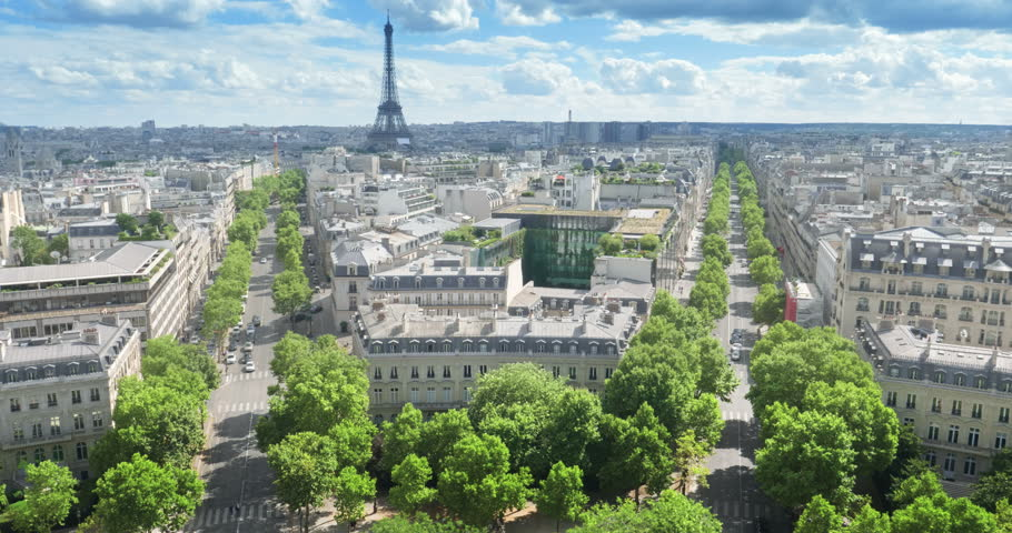 Panoramic view of Paris, Champs Elysees and the Eiffel Tower | Shutterstock HD Video #1014583364