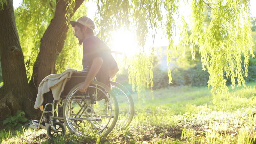 side view of young handsome handicapped man riding on wheelchair in summer park with beautiful sun light shining on background sunny green forest complete physical recovery paralysis rehabilitation