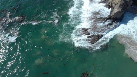 Aerial Tilt Up Shot of Laguna Beach Coastline California USA