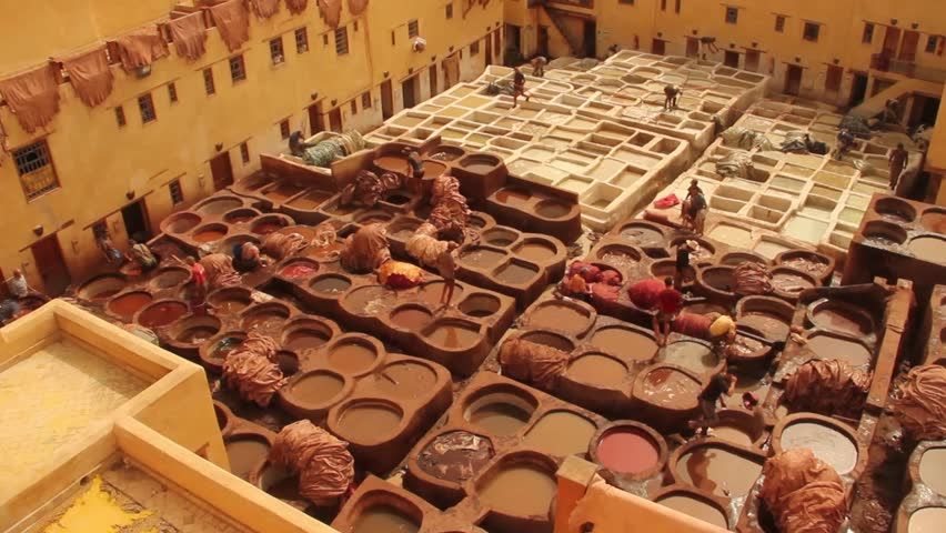 Wide Shot of Tannery in Fez Morocco with Men Working