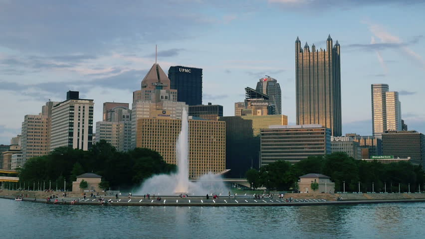 PITTSBURGH, PA - Circa May, 2015 - An evening establishing shot of the iconic fountain at The Point in downtown Pittsburgh, PA.