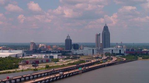 Aerial footage Downtown Mobile Alabama 4k