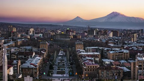 Time lapse of a sunset in Yerevan, Armenia