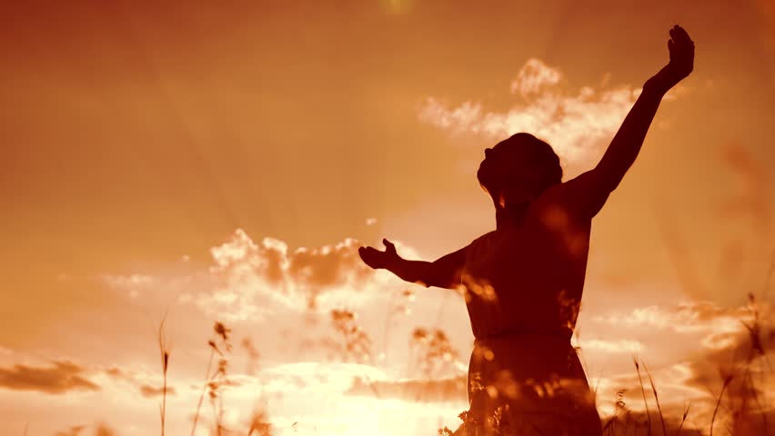 Girl folded her hands in prayer silhouette at sunset. woman praying on her knees. slow motion video. Girl folded her hands in prayer pray to God. the girl praying asks forgiveness for sins of | Shutterstock HD Video #1014649664