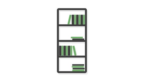 Home and Interior icons animation with white  background.Book Rack icon animation with white background.