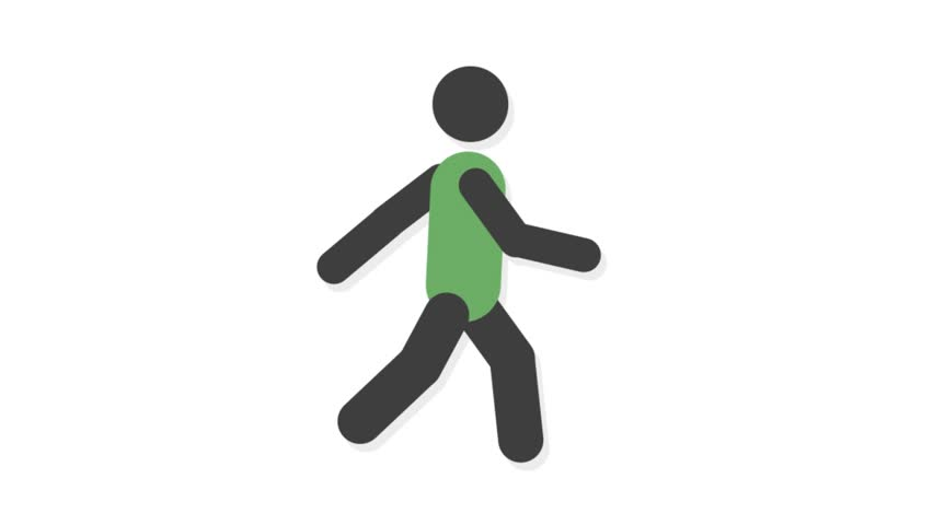 Sports icons animation with white  background.Walker icon animation with white background.
