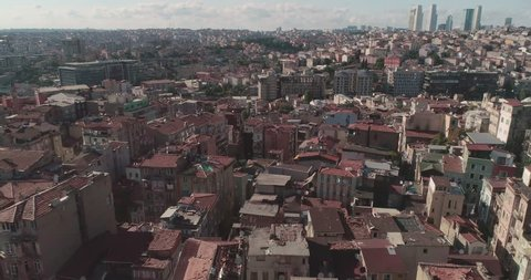 A beautiful 4k aerial flight over Istanbul rooftops. Istanbul. Turkey.