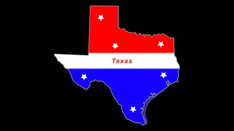 Texas red, white, blue animated map.  Alpha Chan/Transparent. Time compresses nicely.