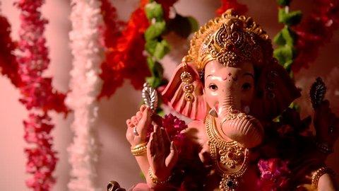 Footage of Ganpati or  Lord Ganesha idol in Ganesh Festival