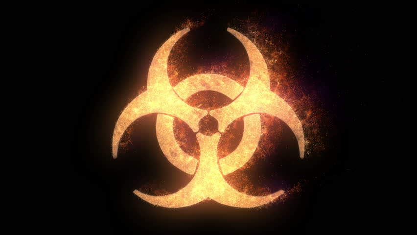 Biohazard symbol on fire, looping animation, black background.