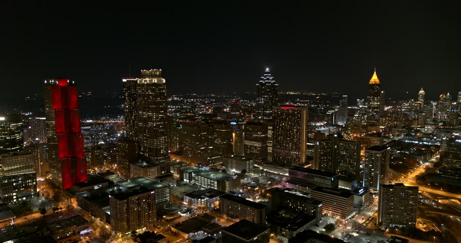 Atlanta Aerial v389 Panoramic low vantage night view of downtown 1/18