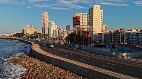 Cuba Havana v41 Low birdseye view of waterfront near monument, following Malecon path 4/18