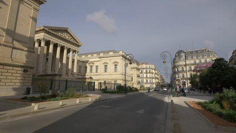Montpellier, France - April, 2017: The Courthouse and other buildings located on Rue Foch, Montpellier.