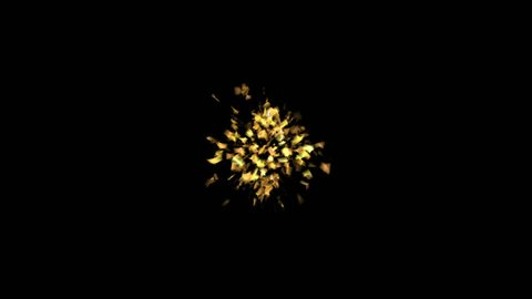 Golden Confetti Party Popper Explosions on a Black Backgrounds