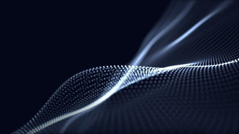 Digital wave background abstract title dark blue blurred animation of particle seamless.