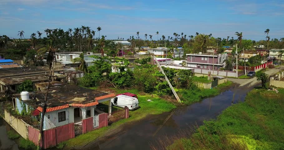 Aerial Street view Hurricane Maria is regarded as being the worst natural disaster on record to affect Dominica and Puerto Rico. | Shutterstock HD Video #1014768764