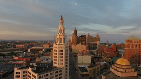 Aerial of Downtown Buffalo New York at Sunrise