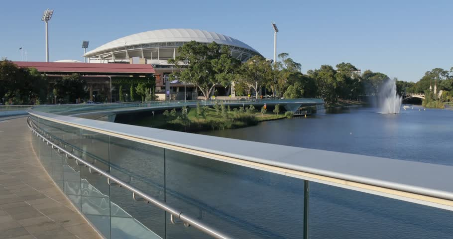 Riverbank Bridge, Adelaide Oval and River Torrens, Adelaide, South Australia, Australia