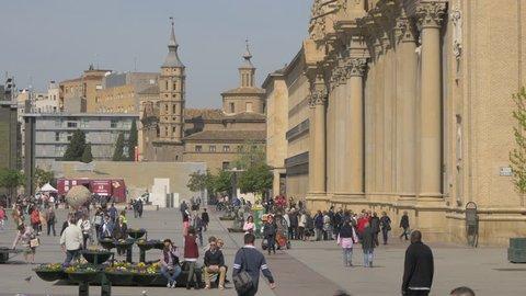 Zaragoza, Spain - May, 2017: People walking in Plaza del Pilar, in Zaragoza.