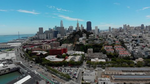 Aerial Drone Shot Flying From Pier 39 into the City in San Francisco, California