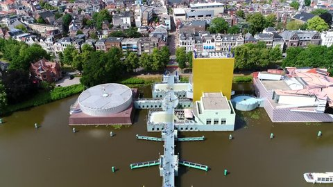 Aerial flight towards Groninger Museum is an art gallery in city of Groningen in Netherlands the buildings exhibits modern and contemporary art of local national and international artists 4k
