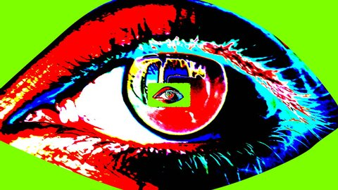 An opt art 3d rendering of a big human female eye with a dark pupil, colorful iris and flickering retina with a small one inside. The small eye grows bigger and forms a tunnel in human conscience.