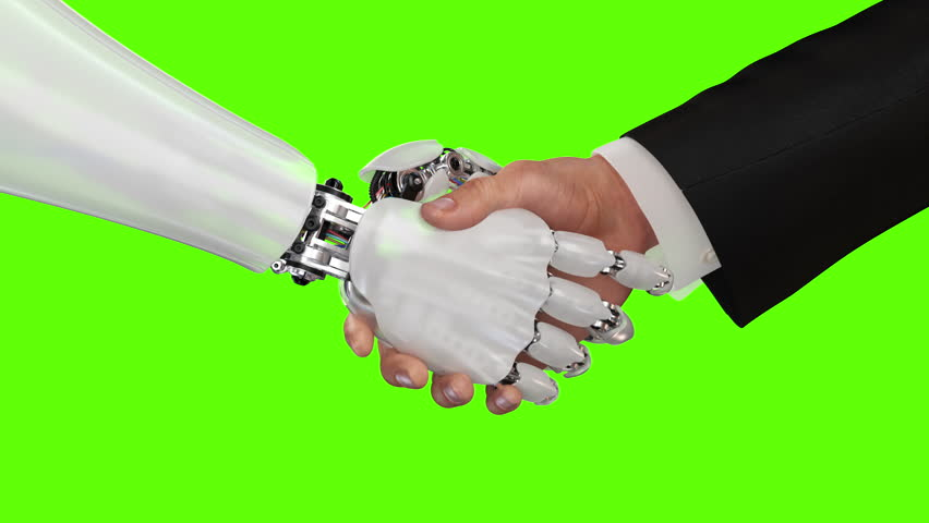Robot and Man Shaking Hands. Beautiful realistic 3d animation on a green background with a pass of depth of field. 4K