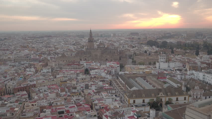 Seville, Spain - April, 2017: Aerial view of Seville at sunrise. | Shutterstock HD Video #1014951934