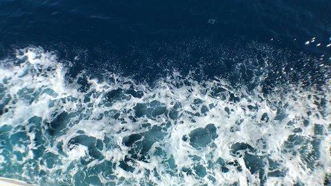 Tilting shot of beautiful Adriatic sea from ferry boat, Hvar Croatia