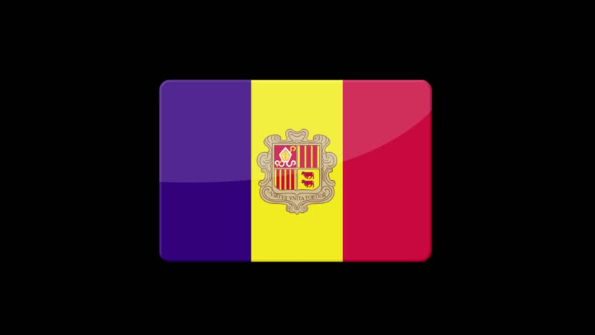 Flag of Andorra Beautiful 3d animation of Andorra flag in loop mode.Andorra flag animation