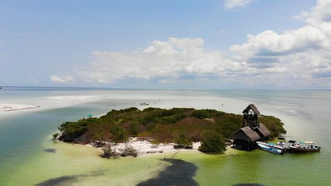 Aerial shot of Isla de la Pasion near Isla Holbox on a sunny day, Mexico