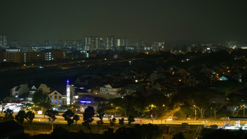 Time Lapse Of Traffic And Lights At A Singapore Residential Neighbourhood At Night   Shutterstock HD Video #1015005004