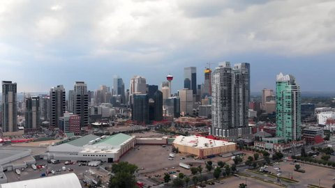 Aerial view of Downtown buildings during daytime in Calgary, Alberta, Canada.