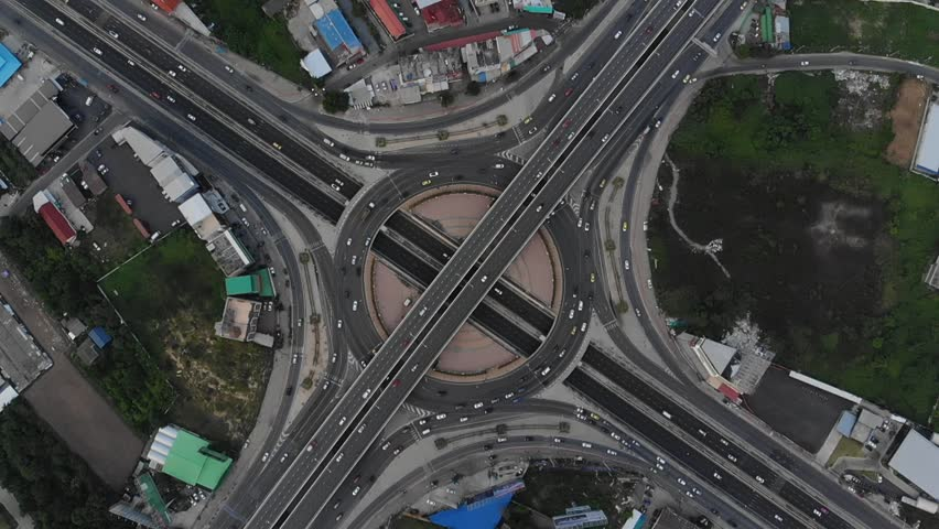 Expressway top view, Road traffic an important infrastructure in Thailand | Shutterstock HD Video #1015015534