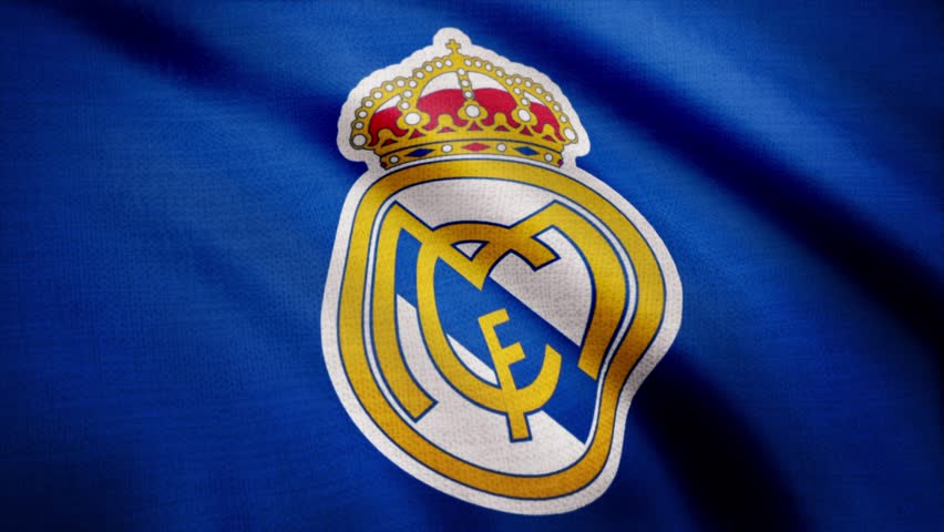 a14333382 FC Real Madrid flag is waving on transparent background. Close-up of waving  flag with FC Real Madrid football club logo