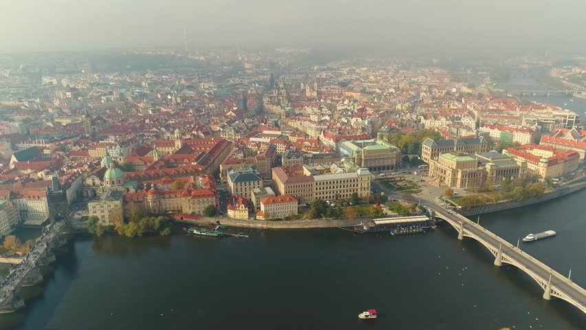 Aerial panorama of the city of Prague. The streets of old Prague. | Shutterstock HD Video #1015057294