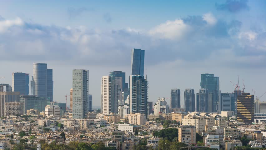 Tel Aviv Skyline,  Time Lapse, Israel - Pan Left | Shutterstock HD Video #1015057804