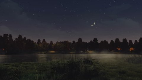 Mystical autumn park with dark trees on the shore of calm lake or pond at misty night with half moon in starry sky. With no people realistic 3D animation rendered in 4K