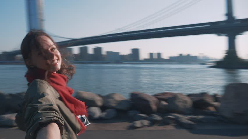 Happy young girl in New York | Shutterstock HD Video #1015078894