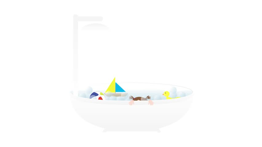 Bathtub with shower, Little cute baby girl and toys - boat, duck and ball