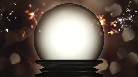 a crystal globe fortune teller with sparks