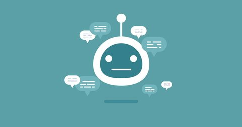 animation modern flat chat bot with speech bubble icons on blue background. Support cartoon smart robot design.