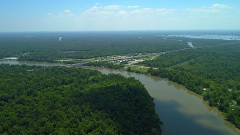 Drone footage of the Atchafalaya River Louisiana visitor center Breaux Bridge