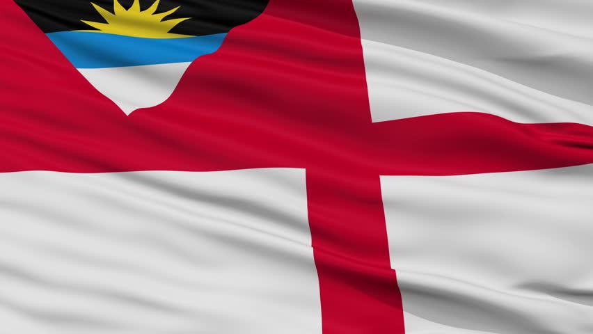 Coastguard Ensign Of Antigua And Barbuda Flag, Closeup View Realistic Animation Seamless Loop - 10 Seconds Long