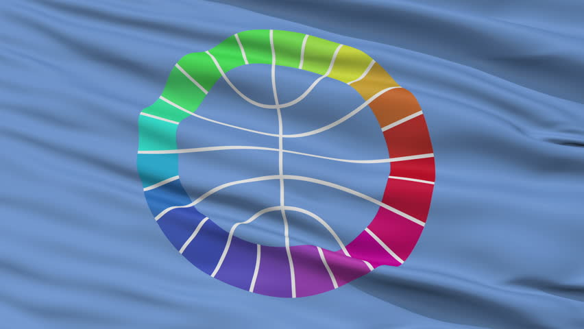 Unrepresented Nations Flag, Closeup View Realistic Animation Seamless Loop - 10 Seconds Long